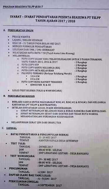 gambar syarat-syarat pendaftaran beasiswa PT TEL Tahun  2017/2018
