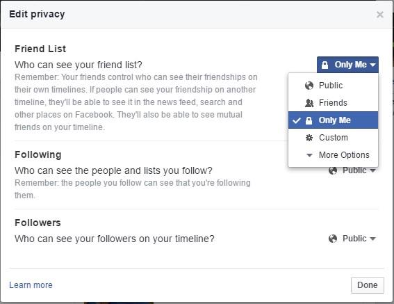 Facebook friends list ko kaise chhupaye.