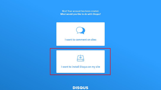 click on i want to install disqus on my blog