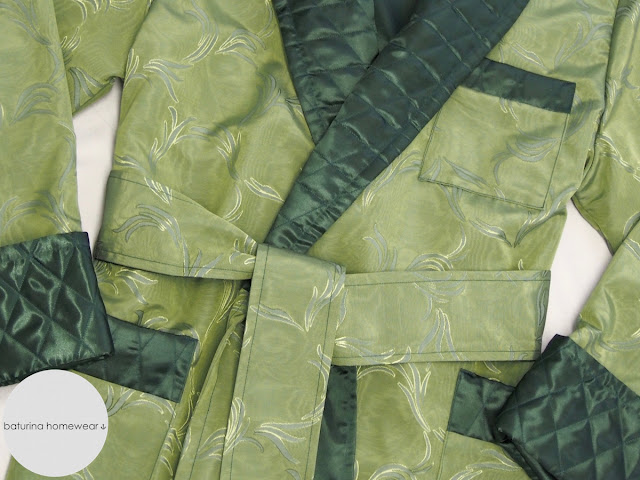 Classic Jacquard Dressing Gown Man Long Robe Silk Green Luxury Quilted Silky Housecoat Traditional Robes Smoking Jacket.