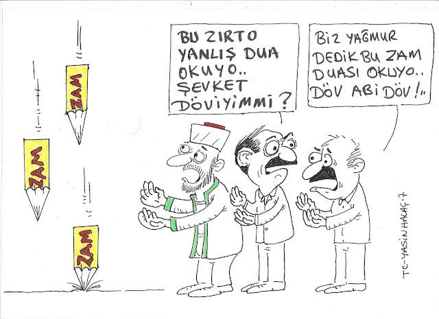 zam yağmuru karikatür