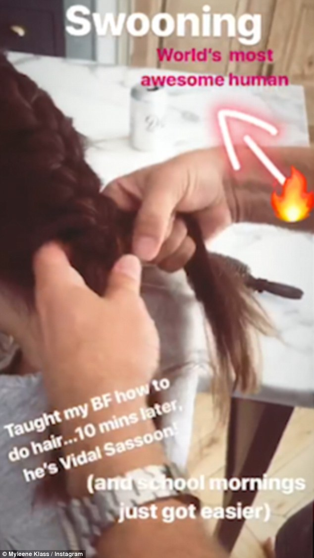Adorable photo of Myleene Klass boyfriend Simon Motson plaiting her daughter's hair