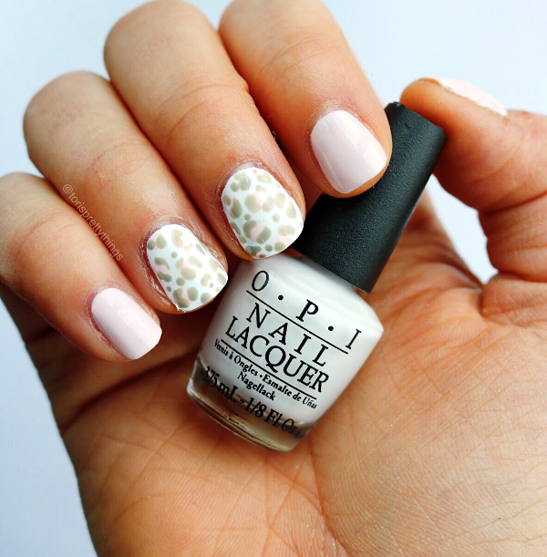 OPI Alpine Snow Swatch, Easy Leopard Nail Art