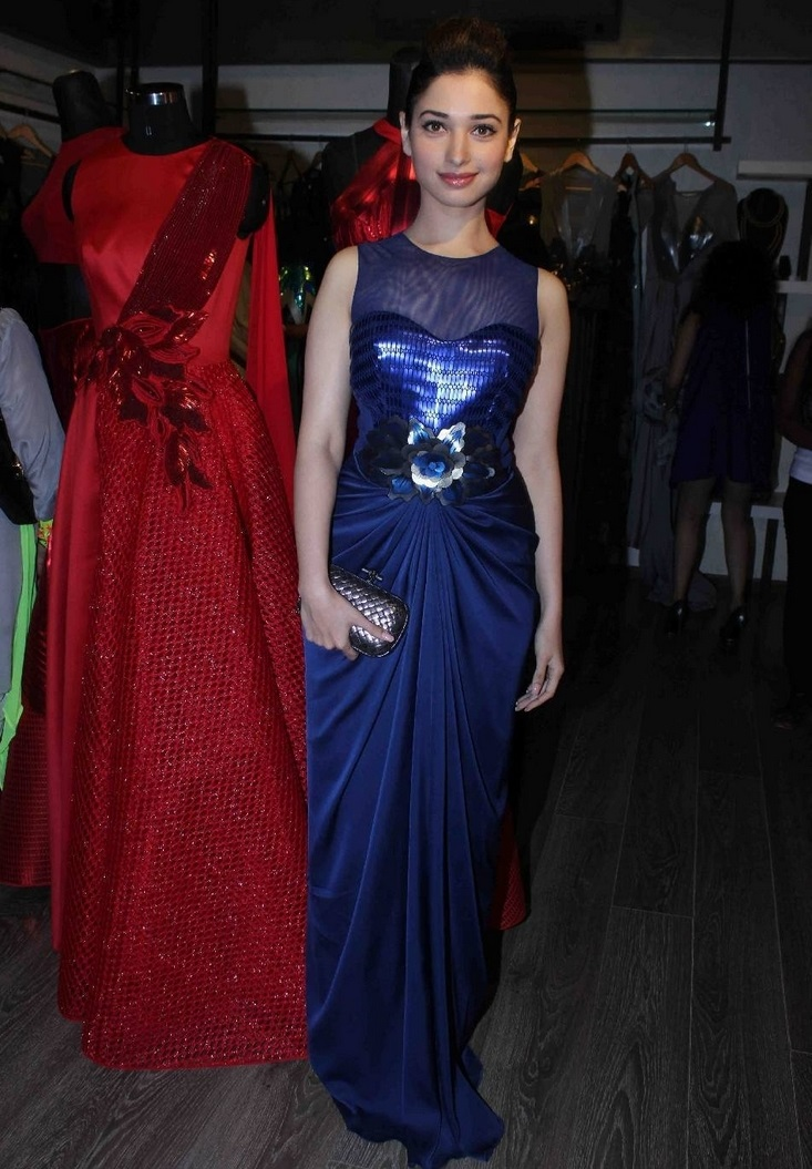 Hindi Movie Hot Actress Tamannaah Photo shoot In Long Blue Dress