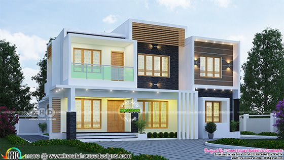 2200 sq-ft 4 BHK flat roof contemporary home plan
