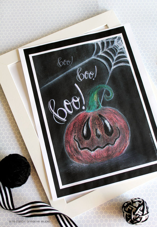 framed halloween print pumpkin illustration, spooky pumpkin, hand lettering