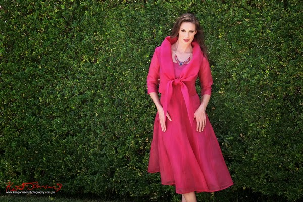 Formal womens fashion. A country garden style fashion photo shoot in suburban Sydney by Kent Johnson.