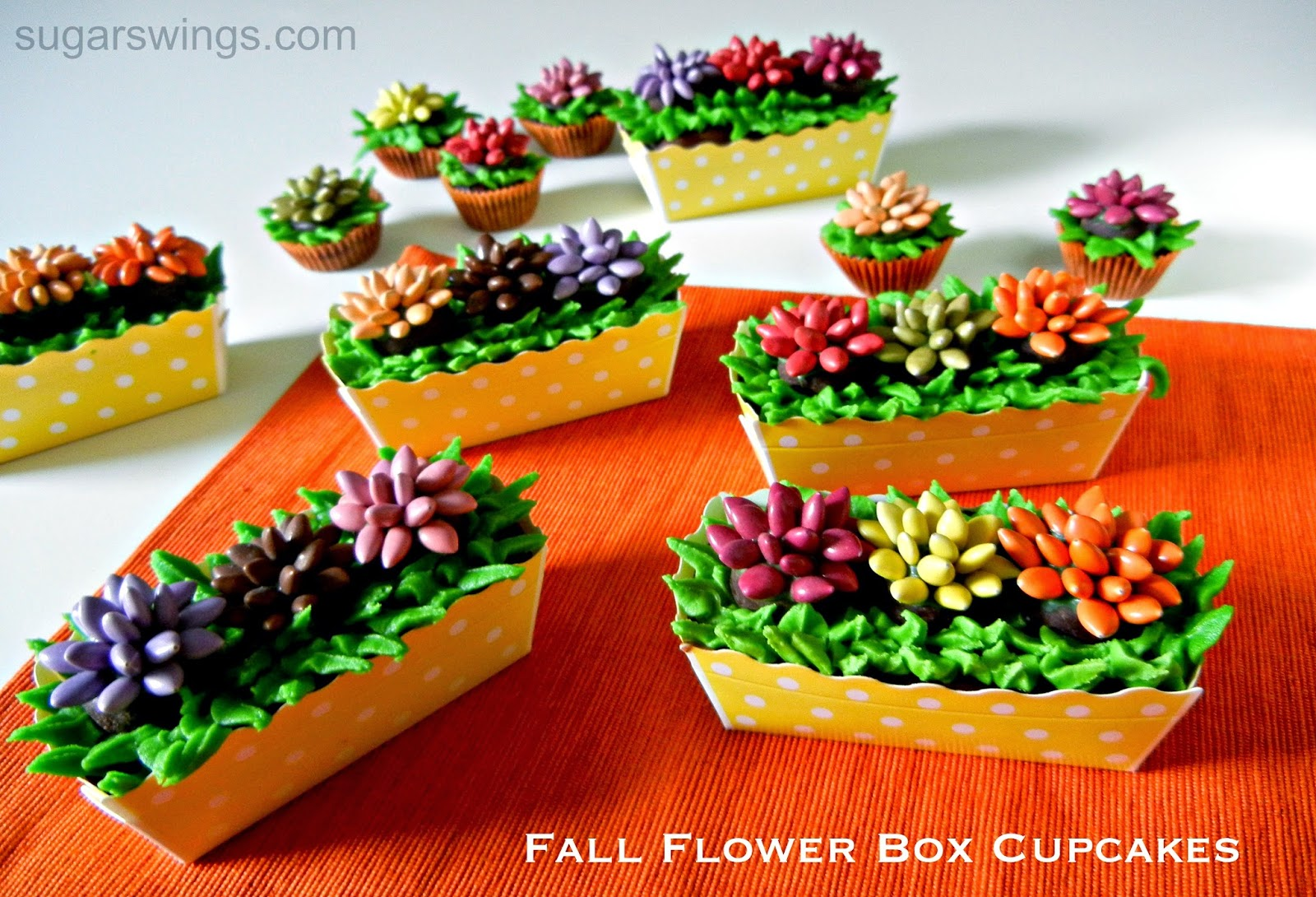 Sugar Swings Serve Some Fall Flower Box Cupcakes