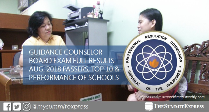 August 2018 Guidance Counselor board exam list of passers, top 10