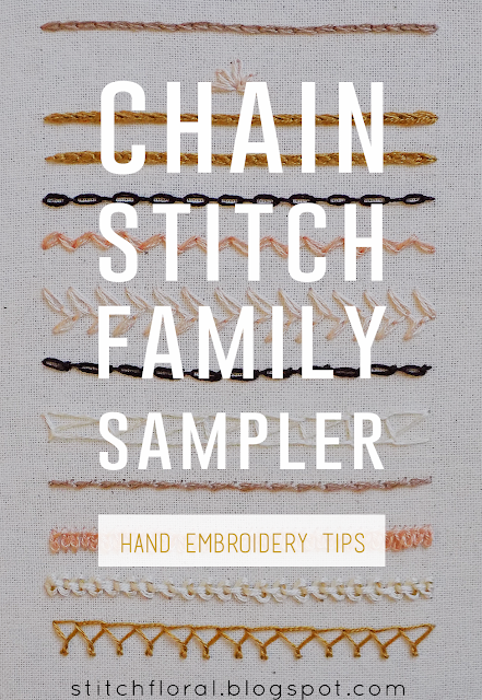 Chain stitch family sampler