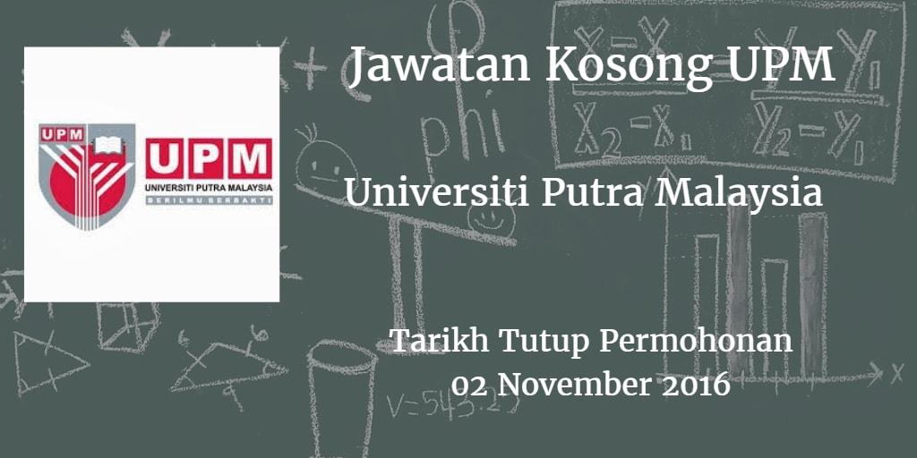 Jawatan Kosong UPM 13 November 2016