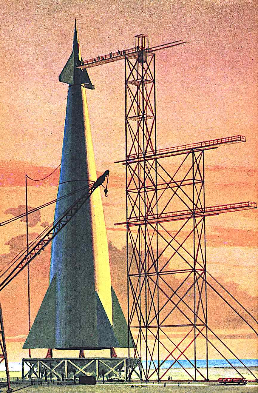 a John Polgreen children's book illustration of a rocket on a launch pad