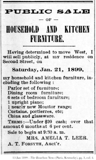 Image of sale bill, The Bourbon News, 13 Jan 1899; pg. 3, col. 4.