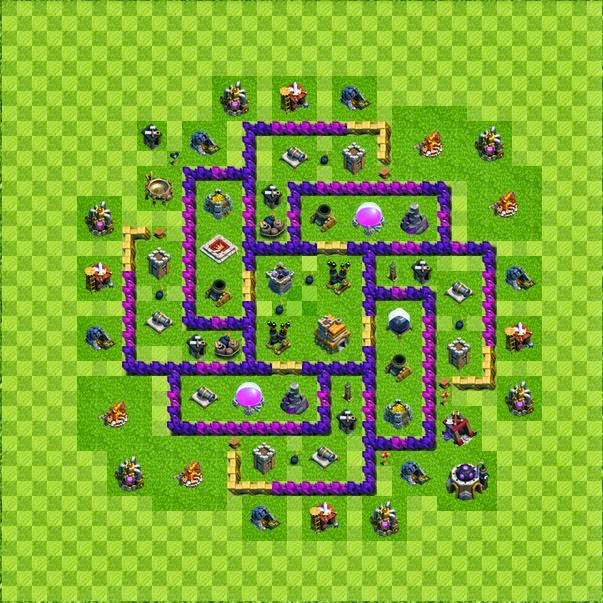 Tipe Defense Base Layout Town Hall Level 7 Clash of Clans ...