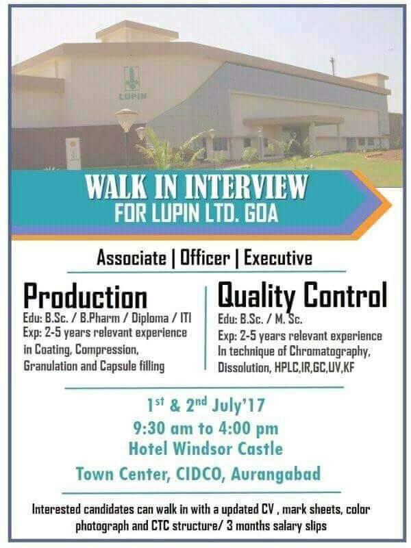 Pharma Vacancy: Pharma vacancy - Walk in for Lupin Goa on 1st & 2nd