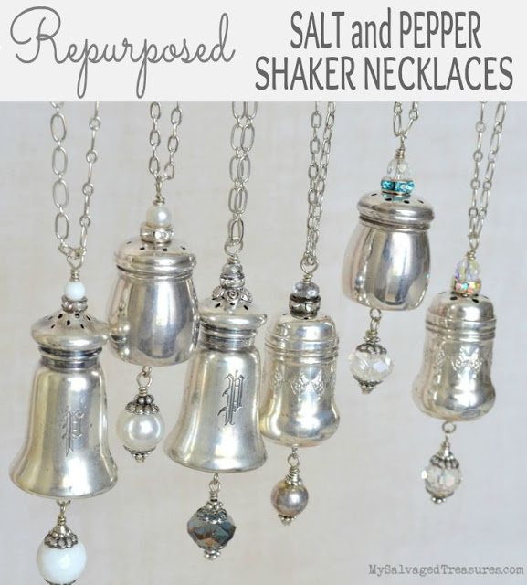 Repurposed sterling silver salt and pepper necklaces