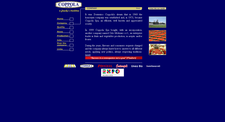 Picture to Italian food exporter company named Coppola Spa
