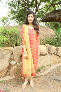 Simran Sharma new cute actress in orange Salwar suit at EGO movie launch ~ Exclusive