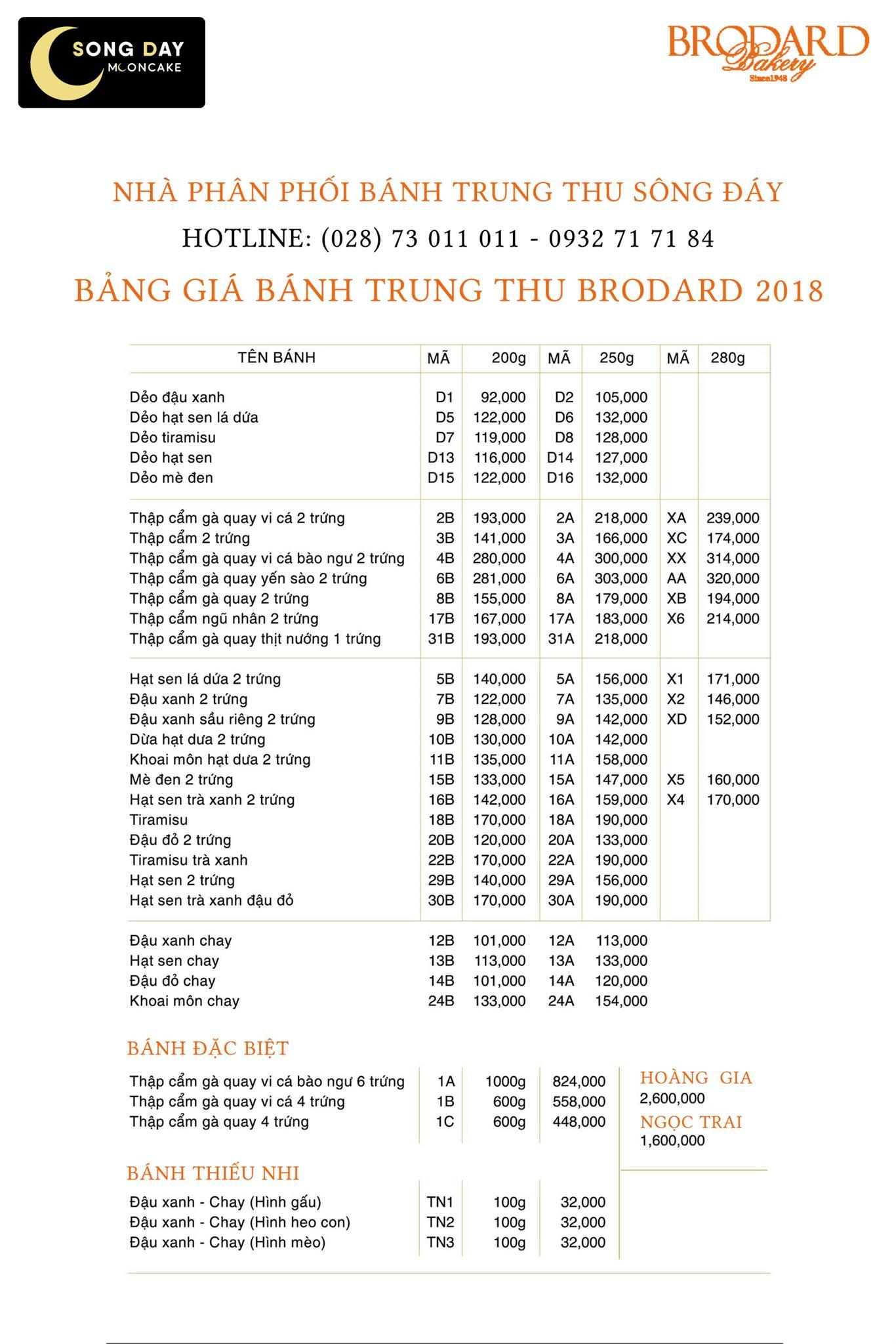 bảng báo giá bánh trung thu brodard 2018