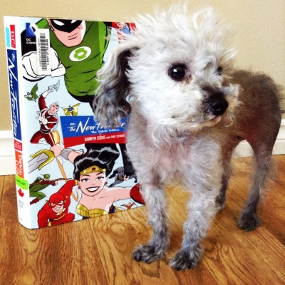 Murchie stands on a pale wood floor. A massive hardcover copy of The New Frontier rests upright slightly behind him. Its cover features cartoon-style illustrations of many DC superheroes flying towards the viewer, foremost among them Green Lantern, Wonder Woman, and the Flash.
