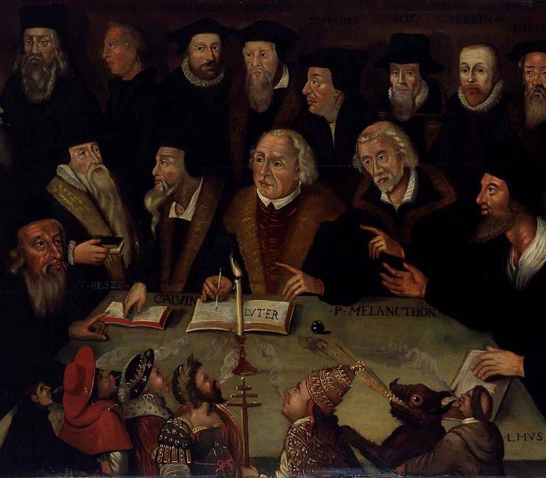 Com Lutero no centro, a assembleia dos heresiarcas protestantes concordou num ponto especialmente blasfemo: o homem peca por vontade de Deus