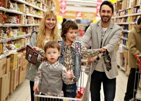 A family at a supermarket.