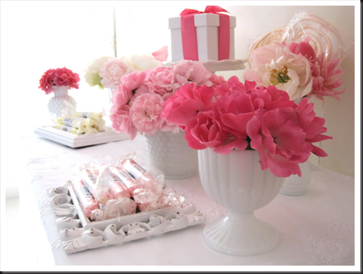white milk glass centerpiece with pink flowers