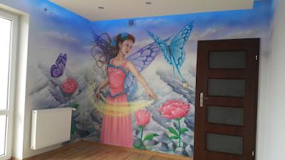 Malowanie pokoju dziewczynki, mural w pokoju nastolatki, malowanie ścian w pokoju nastolatki, mural dla nastolatki,