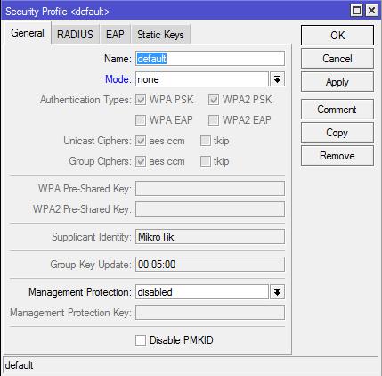 Menu Security Profile