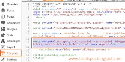 Add Meta Keywords Tag To Blogger Blog 2