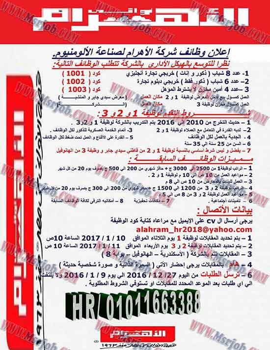 وظائف شركة الاهرام لصناعة الالومنيوم لجميع المؤهلات 6 / 1 / 2017
