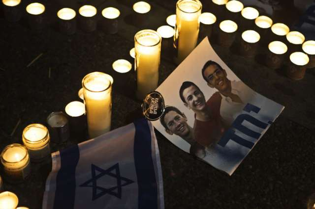 A candle-light vigil for the three murdered Israeli teens in year 2014.  Credit: Tikkun Daily Blog, Creative Commons