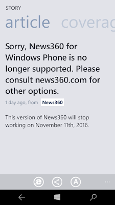 News360 discontinued for Windows 10 Mobile/Windows Phone 8 1