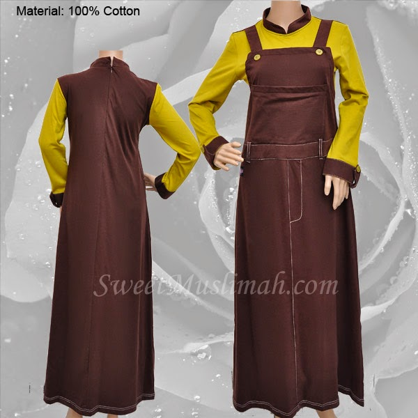 JUBAH COTTON MT48 Coklat (KOLEKSI MUTIF) - SOLD OUT