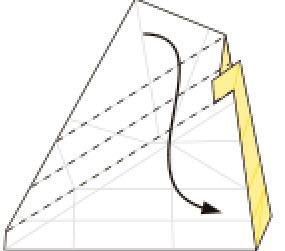 Bước 9: Gấp thang cạnh giấy vào trong (xem phần kỹ thuật gấp để biết gấp thang nhé)