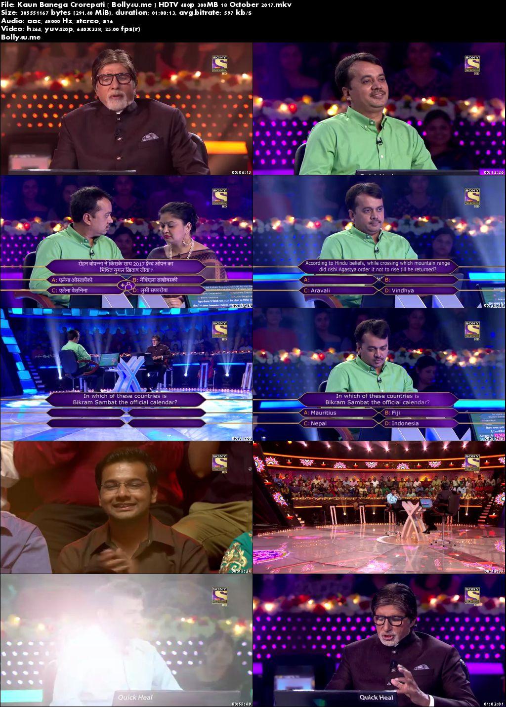 Kaun Banega Crorepati HDTV 480p 300MB 18 October 2017 Download
