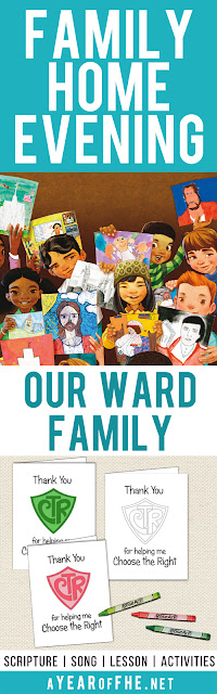 A Year of FHE // a free Family Home Evening about our Ward (or Branch) Family. How we can get to know and support our fellow church members.  Includes a free download of Thank You card to print, color, and address to a member of your Ward Family.  #lds #familyhomeevening #fhe #ward #church #branch