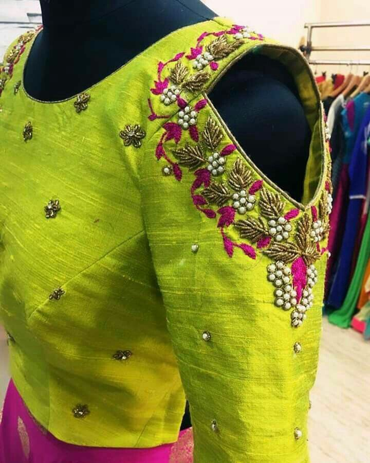 9 Embellished cold shoulder saree blouse sleeve designs for traditional  saree look e14675ba10d