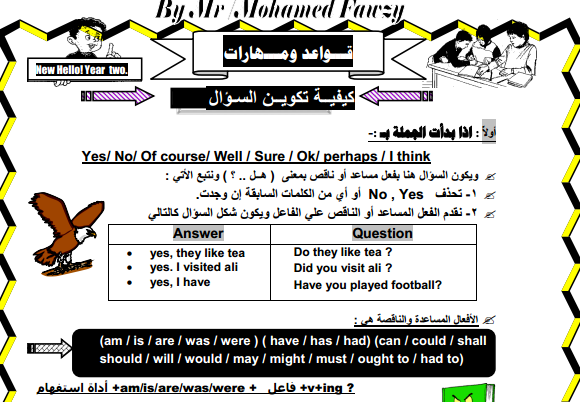 مذكرة قواعد ومهارات الصف الثاني الاعدادي من اعداد مستر محمد فوزى