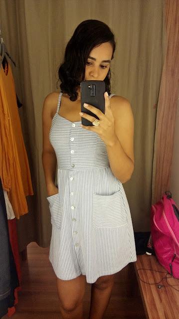 Achegue-se! GARIMPO RENNER - SHOPPING DA BAHIA - LIQUIDA SALVADOR vestido azul listrado