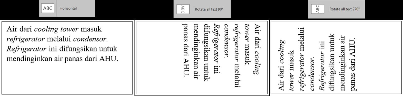 Tampilan ke tiga Text Direction