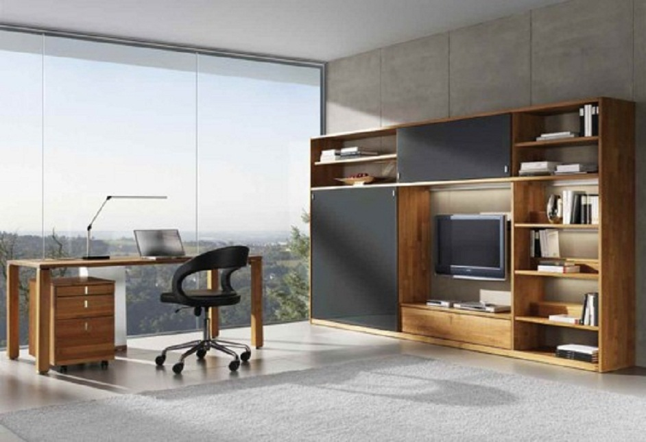Contemporary Workplace Wooden Table and Glass Wall