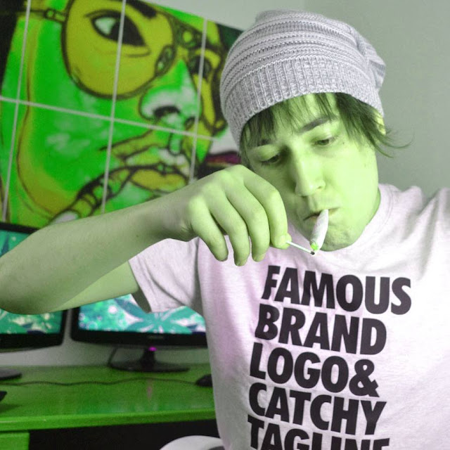 Famous Brand Logo & Catchy Tagline t-shirt as worn by Jay Wessman AKA LazyAssStoner