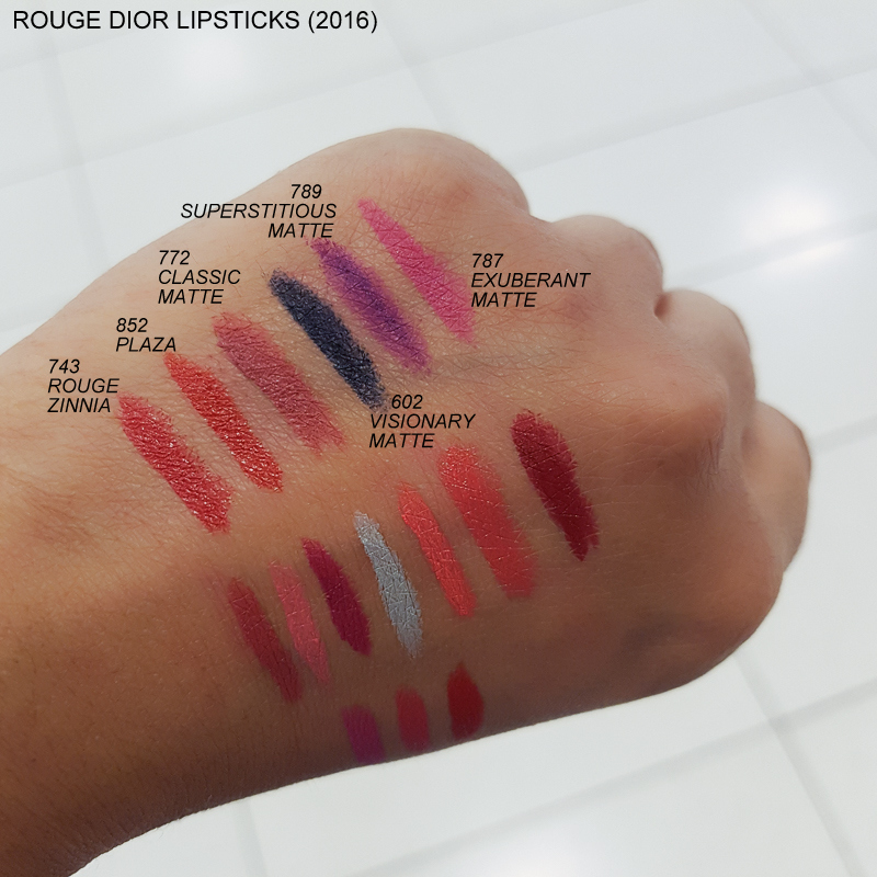 Rouge Dior Lipsticks Swatches 743 Rouge Zinnia 852 Plaza 772 Classic Matte 602 Visionary Matte 789 Superstitious Matte 787 Exuberant Matte