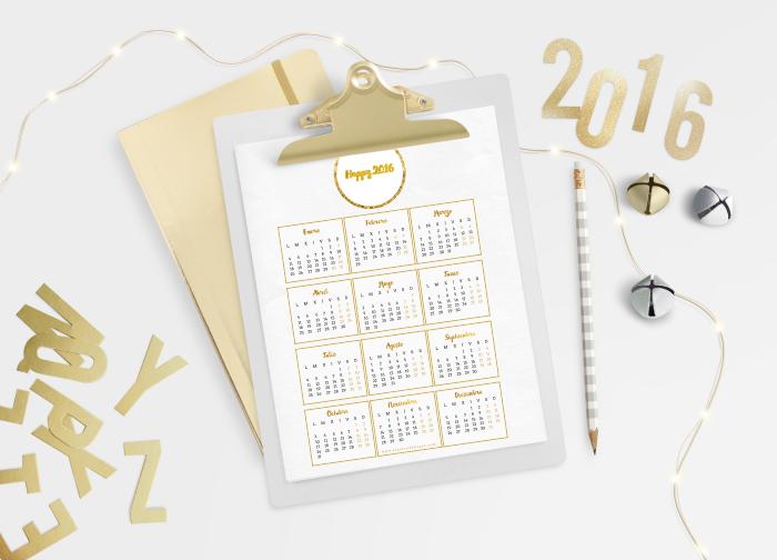 Calendario y Organizador Imprimible para Bloggers y Emprendedoras Modelo Gold