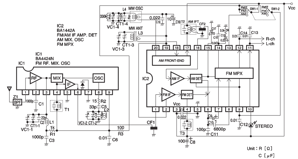 AM radio / FM IF stereo system IC ~ AmplifierCircuits.com