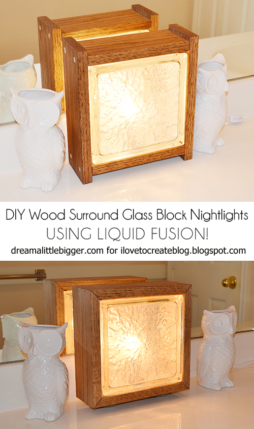 Do It Yourself Home Design: Wood Surround Glass Block Nightlight Featuring Liquid