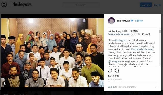 Selebriti Indonesia beri pernyataan ke Instagram: Ustadz Abdul Somad orang yang dicintai di Indonesia