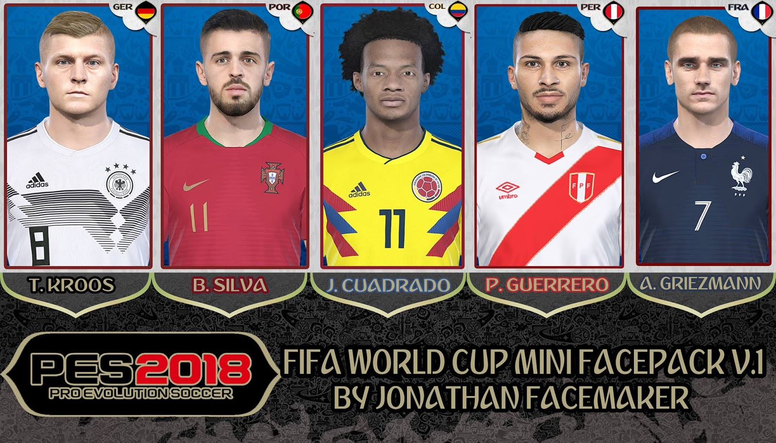 PES 2018 Fifa World Cup Minifacepack V1 by Jonathan Facemaker