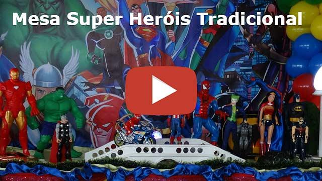 Decoração mesa de festa Super-Heróis tradicional luxo